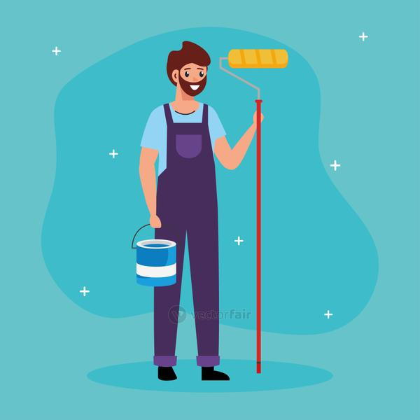 painter man with roll and bucket vector design