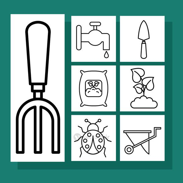Gardening line style set of icons vector design