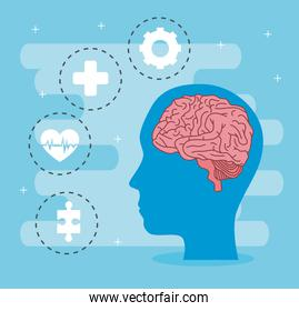 mental health of brain in head and icon set vector design
