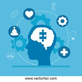 mental health of puzzle on brain in head and icon set vector design