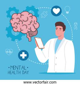 mental health day with brain and man doctor vector design