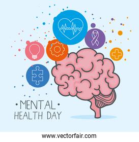 mental health day with brain and icon set