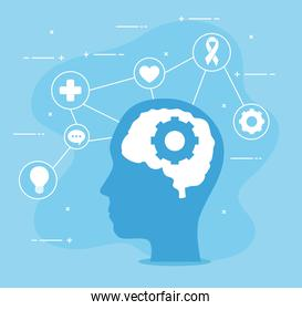 mental health of gear on brain in head and icon set vector design
