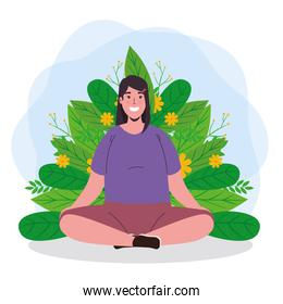 mental health of woman meditating with leaves vector design
