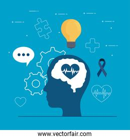 mental health of heart on brain in head and icon set vector design