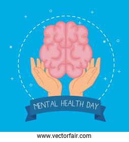 mental health day with brain over hands vector design