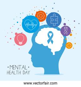 mental health day with ribbon on brain in head and icon set vector design