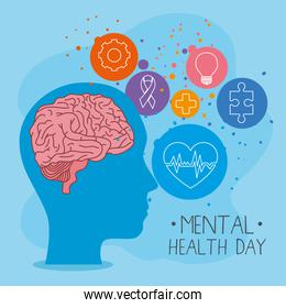 mental health day with brain in head and icon set vector design