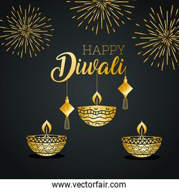 Happy diwali with diya candles fireworks and fortune hangers vector design