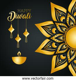 Happy diwali with diya candle fortune hangers and gold mandala vector design