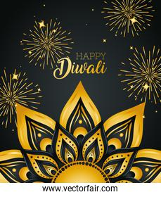 Happy diwali with gold mandala and fireworks vector design