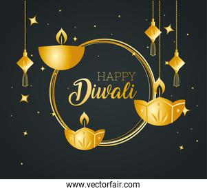 Happy diwali with diya candles and fortune hangers vector design