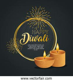 Happy diwali with diya candles with fireworks vector design