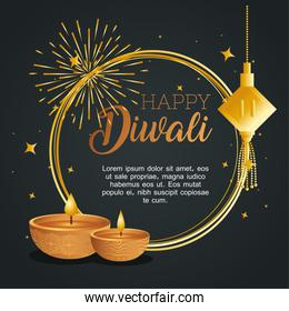 Happy diwali with diya candles fireworks and fortune hanger vector design