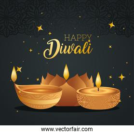 Happy diwali with diya candles with stars vector design
