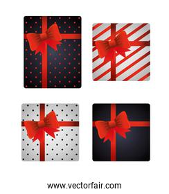 Gifts with bowties set vector design