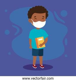 New normal school of girl kid with mask and book vector design