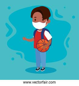 New normal school of girl kid with mask and basket ball vector design