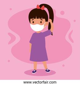 New normal of girl kid with mask vector design