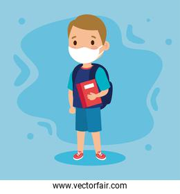 New normal school of girl kid with mask bag and book vector design
