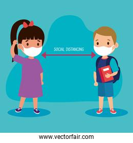 New normal school social distance between girl and boy kid with mask vector design