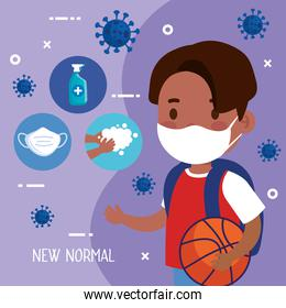 New normal school of girl kid with mask and icon set vector design