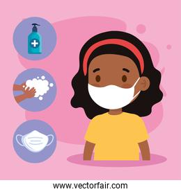 New normal school of black girl kid with mask and icon set vector design