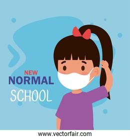 New normal school of girl kid with mask vector design