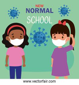 New normal school of girls kids with masks vector design