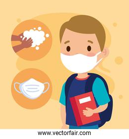 New normal school of girl kid with mask book and hands washing vector design