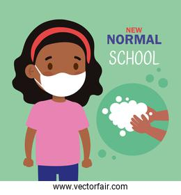 New normal school of black girl kid with mask and hands washing vector design