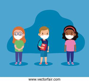 New normal school of girls and boy kids with masks vector design