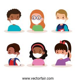 New normal school of girls and boys kids with masks vector design