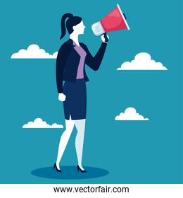 businesswoman with megaphone and clouds on blue background