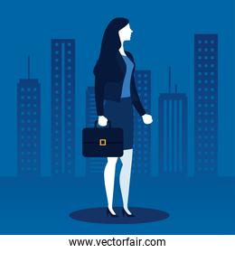 Businesswoman with suitcase in front of city buildings vector design