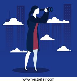 businesswoman with binoculars and clouds in front of city buildings vector design