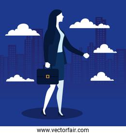 Businesswoman with suitcase and clouds in front of city buildings vector design
