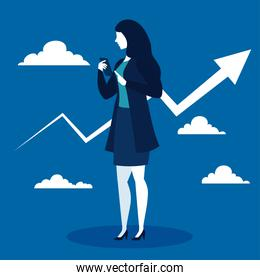 businesswoman with increase arrow and clouds on blue background vector design