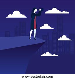 businesswoman with binoculars on cliff in front of city buildings vector design
