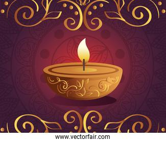 Happy diwali diya candle with mandala and ornament on purple background vector design