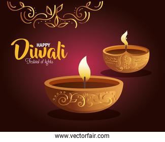 Happy diwali diya candles with ornament on purple background vector design