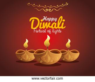 Happy diwali diya candles with ornament on red background vector design