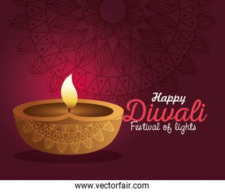 Happy diwali diya candle with mandala on purple background vector design