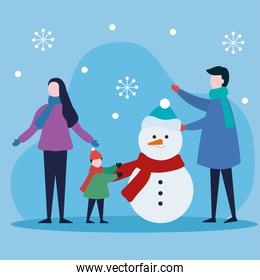 merry christmas mother father and boy kid with snowman vector design