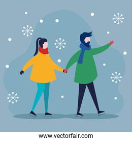 merry christmas woman and man holding hands and snowflakes vector design