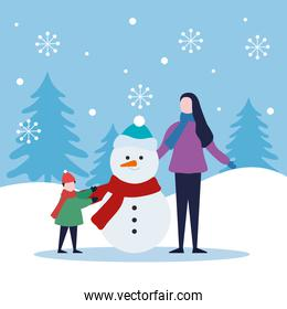merry christmas mother and boy kid with snowman vector design