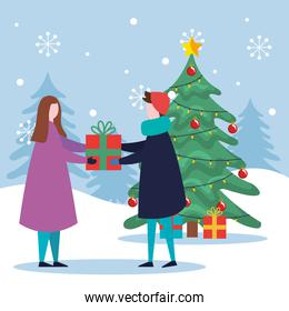 merry christmas boy and girl with pine tree and gifts vector design