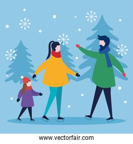 merry christmas mother father and girl kid with pine trees vector design