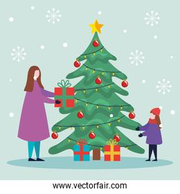 merry christmas mother and daughter with pine tree and gifts vector design
