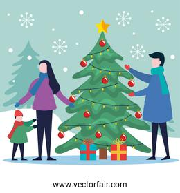 merry christmas father mother and son with pine tree and gifts